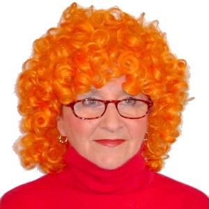 Liz Underhill wearing a red wig